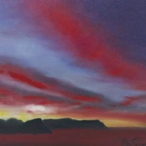 The Studio Art Gallery   2021 Mandela Day Block Art Exhibition   Fiona MacGregor - Sunset Over False Bay