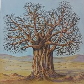 The Studio Art Gallery   2021 Mandela Day Block Art Exhibition   Jill Endean - Baobab I