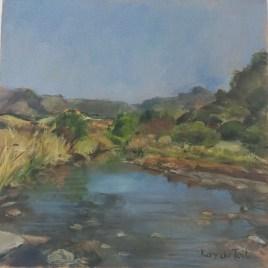 The Studio Art Gallery   2021 Mandela Day Block Art Exhibition   Kay Du Toit - River Scene Around Ceres