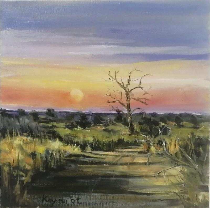 The Studio Art Gallery | 2021 Mandela Day Block Art Exhibition | Kay Du Toit - Sunrise Sabi Sabi