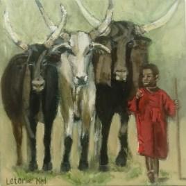 The Studio Art Gallery   2021 Mandela Day Block Art Exhibition   Letanie Nel - Little Herdsman