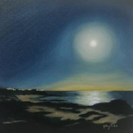 The Studio Art Gallery   2021 Mandela Day Block Art Exhibition   Phyllida Louw - Moonrise over the Sea II