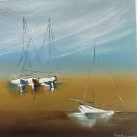 The Studio Art Gallery   2021 Mandela Day Block Art Exhibition   Saeeda Anis - Four Boats on the Beach