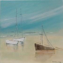 The Studio Art Gallery   2021 Mandela Day Block Art Exhibition   Saeeda Prew - Three Boats on the Beach