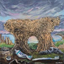 The Studio Art Gallery   2021 Mandela Day Block Art Exhibition   N.D Mazin – Stone Ancestors Portrait Series – # 2 The Hollow Cry