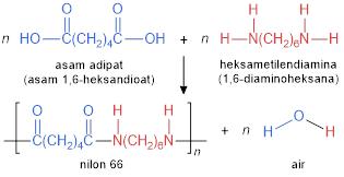 nilon 66 dari asam adipat dan heksametilendiamina