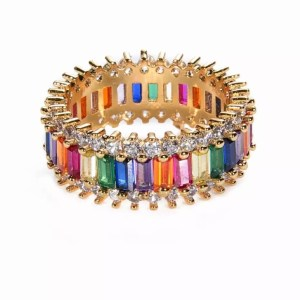 Rainbow ring - strass groot
