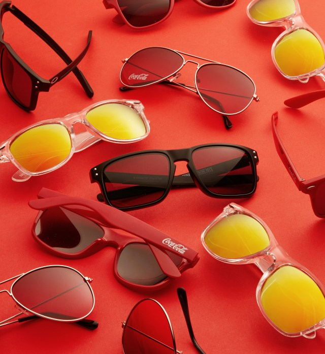 Coca Cola sunglasses on red