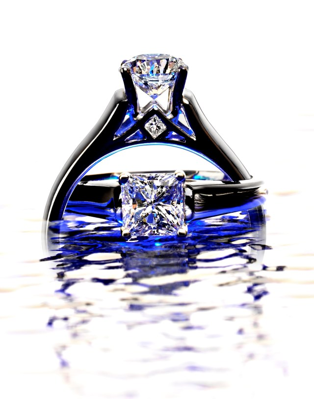 diamond rings on water with blue color