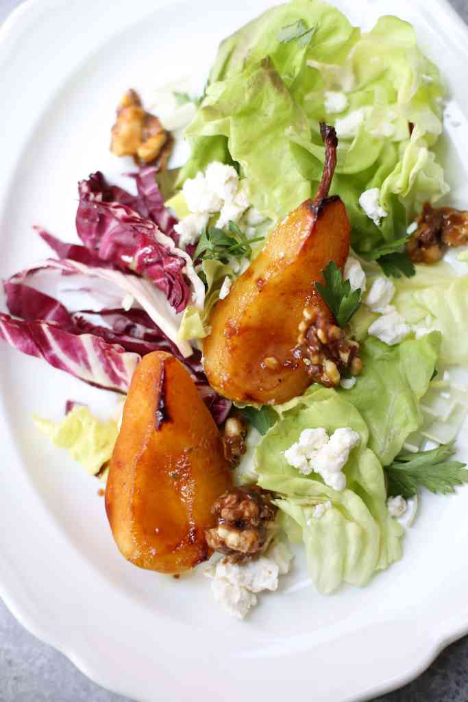 Pan Roasted Pear Salad ingredients on a white plate