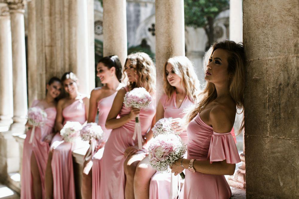 Bridesmaids posing at Croatian traditional Wedding