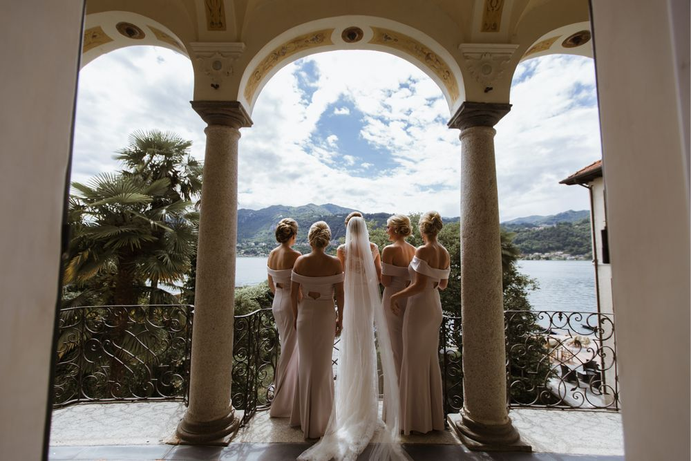 Bridesmaids in the Villa Gippini - Hotel san Rocco, Lake Orta, Italy. Photo by DTstudio Lake Como wedding photographer