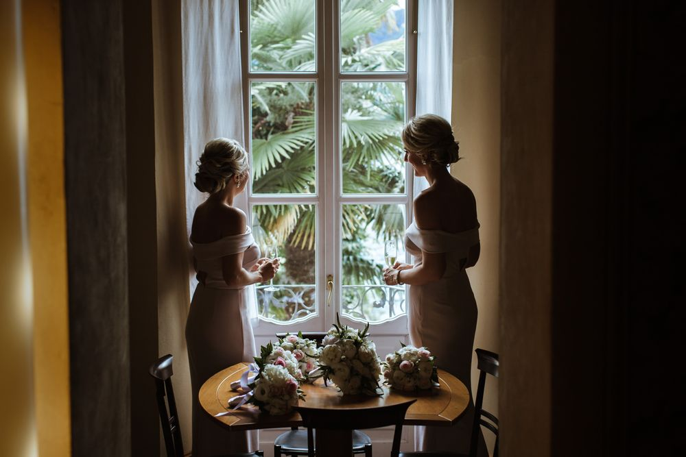 Bridesmaids at Villa Gippini by Lake Como weddings