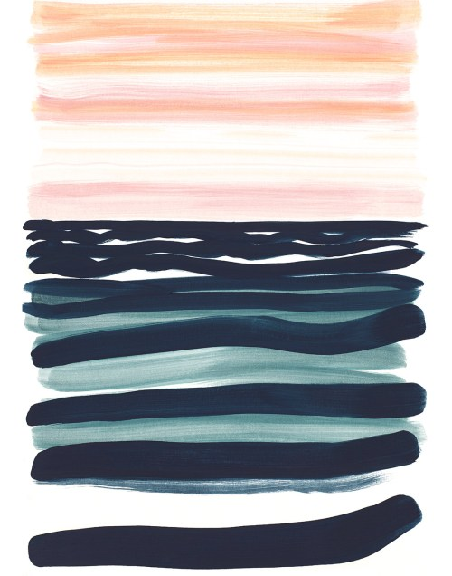 Navy Blue Lines Sunset Print