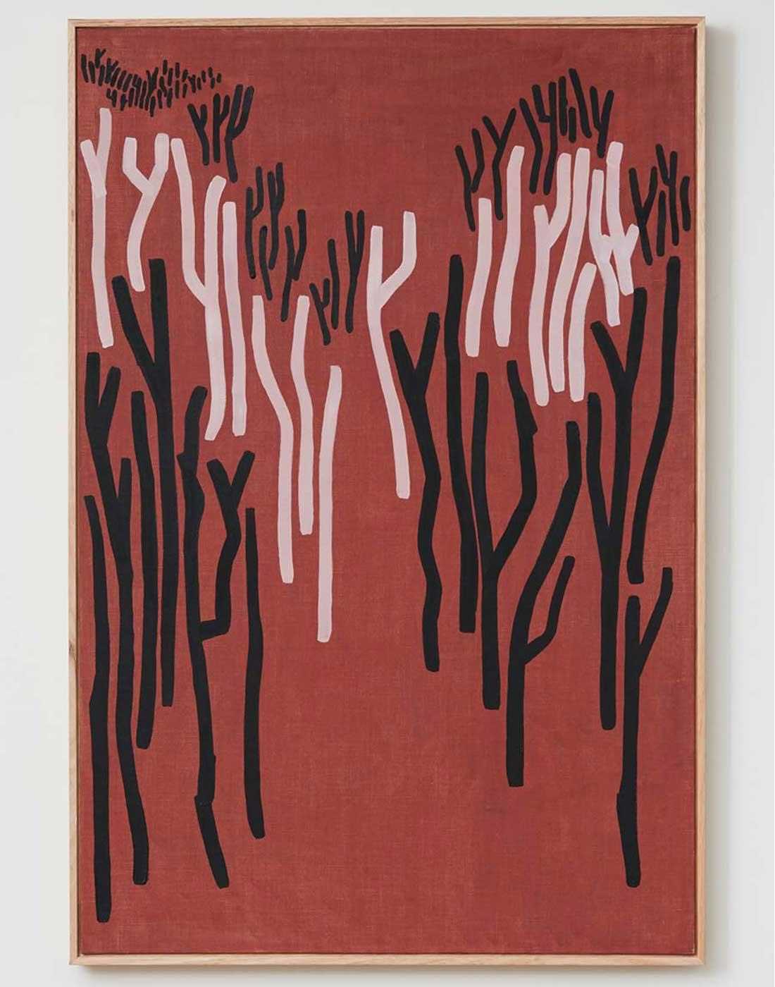 Gum Trees Red framed in Oak