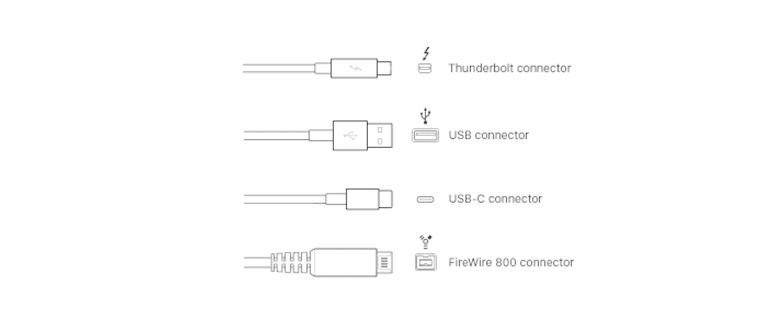 thunderbolt, firewire, USB audio interface connectors