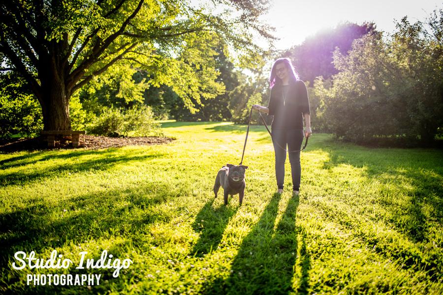 Senior picture with pet dog at UW arboretum