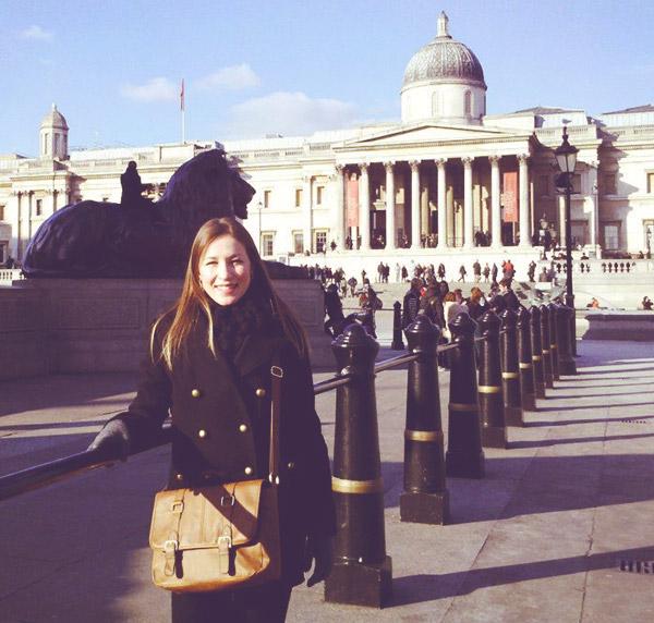 Vanessa at Trafalgar Square - The National Gallery London UK