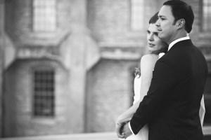 black and white architecture portrait of bride and groom - Studio Laguna wedding photography