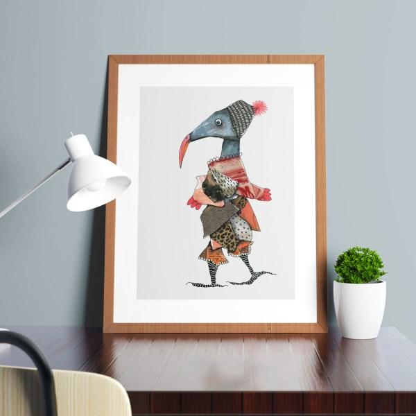 collage vogel in lijst