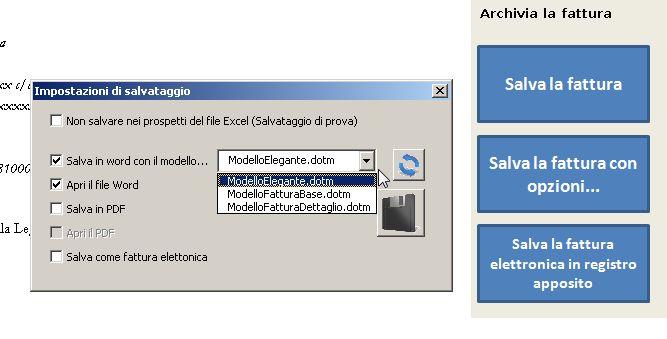 Salvataggio Fattura Minimi in Excel Pdf Word