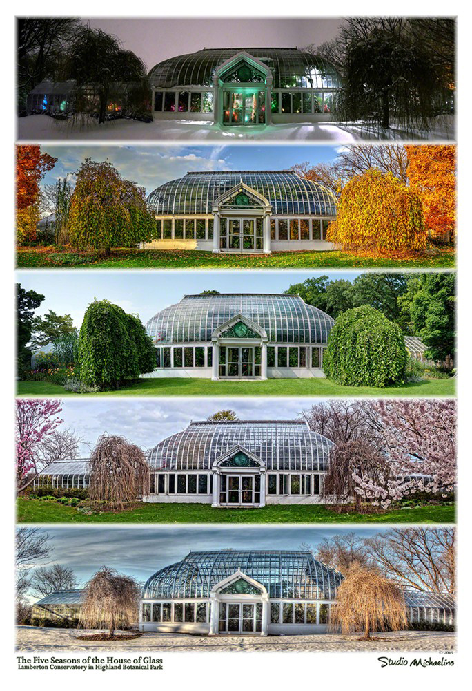 Five Seasons of the House of Glass - A Poster in Two Editions: Lamberton Conservatory in the Seasons of: Winter, Spring, Summer, Autumn and Holiday. Image ID:2015112901