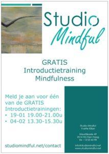Flyer GRATIS Intriductietraining Mindfulness bij Studio Mindful in Den Haag