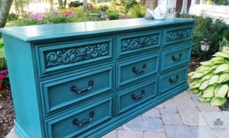 "Painted Teal Dresser ""Poffertjes"""