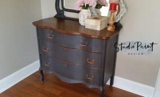 """Serpentine Painted Antique Dresser """"Lynn"""""""