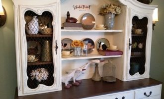 Painted French Provincial Dining Hutch