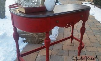 "Emperor's Silk Painted Sofa Table Desk ""Hickory"""
