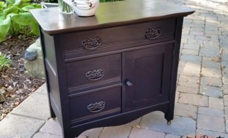 "Antique Painted and Refinished Oak Washstand ""Neighbours"""