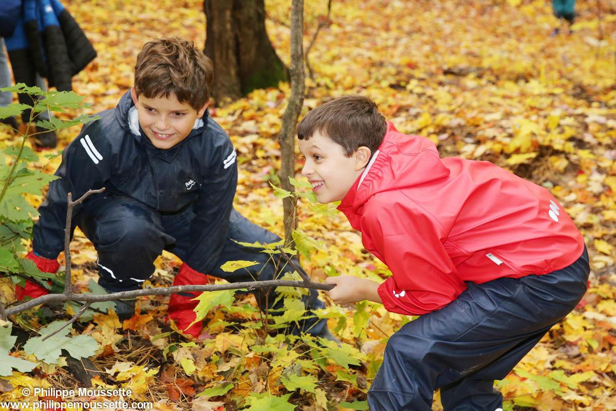Deux garçons qui s'amusent dans la forêt