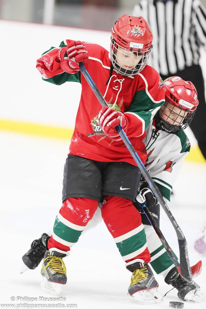 Deux joueurs de hockey qui s'affrontent