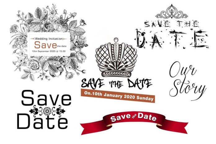Save The Date Lettered, Elements, And Cliparts Collection