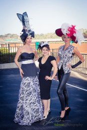 Fashion Designer Jemima Dutra pictured with Kelly and Afton in beautiful dress, vest and pant combo at 2015 Bing Crosby Opening Day at Del Mar.