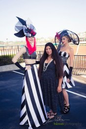 Paula Cobian, Fashion Designer pictured with Nikki and Cierra in her stunning bold stripe designs at 2015 Bing Crosby Opening Day at Del Mar