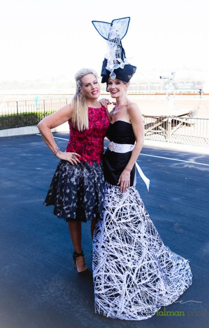 Kelly Lenahan posing with fashion friend and stylist Deena Von Yokes of Studio Savvy at 2015 Bing Crosby Opening Day at Del Mar
