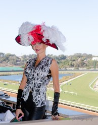 Afton Sleight styled by Deena & Studio Savvy at 2015 Bing Crosby Opening Day at Del Mar