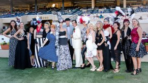 DMTC, Celebrities, models and Studio Savvy in the Winners Circle at the 2015 Bing Crosby Opening Day at Del Mar