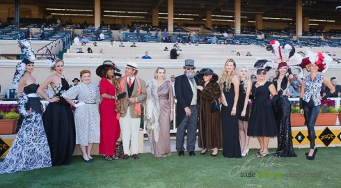 The 1st and 2nd place finalists show their stuff to the crowd along with our models in the Winners Circle at the 2015 Bing Crosby Opening Day at Del Mar