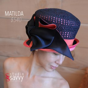 Matilda Woman's Hat. Come out for the Studio Savvy Salon Trunk Show-Hat Sale, July 13th, 2016