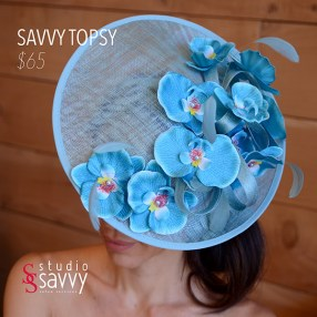 Savvy Topsy Woman's Hat. Come out for the Studio Savvy Salon Trunk Show-Hat Sale, July 13th, 2016