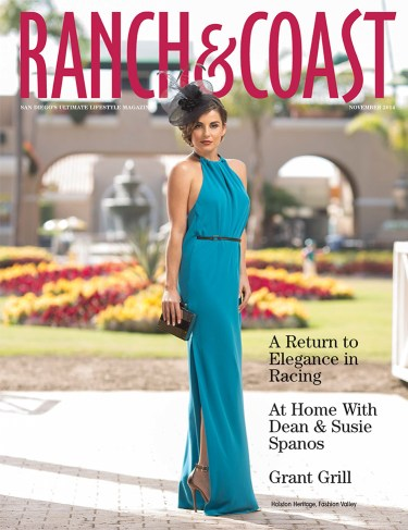 Ranch & Coast - A Return to Elegance in Racing, is a feature article with hair and make-up by Studio Savvy Salon. The article makes note of Studio Savvy Salon & Cuviello Agency bring back vintage fashions with the Del Mar Race Tracks, Opening Day Fashion Contest. Halston Heritage silk gown, 'Angie' heels, and black mirrored clutch from Halston Heritage at Fashion Valley with a Christine A. Moore Millinery 'Ponds' sinamay hat from Studio Savvy in Del Rayo Village.