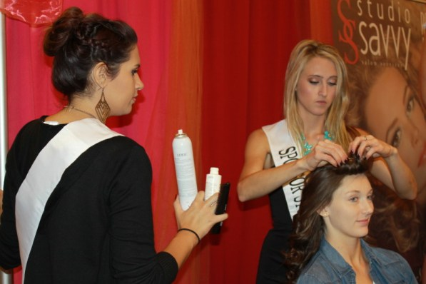 Mariah Meerschaert and Victoria Sexsmith Studio Savvy Salon Rancho Santa Fe curling and up do model hair and makeup at Wedding Party Expo San Diego Marriot