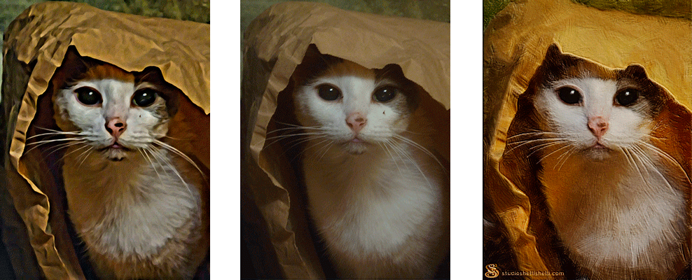 Comparison of mobile app and hand painted image of white cat plaing in a paper bag.