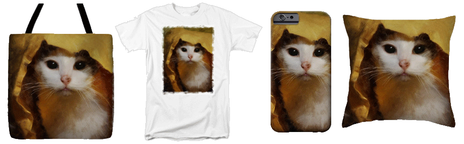 Picture of a tote bag t-shirt, phone case and throw pillow custom printed with a painted portrait.