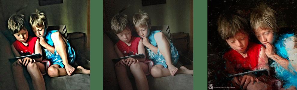Comparison of mobile app vs. hand painted portrait of boys reading
