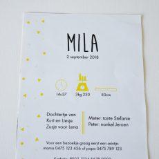 Geboortekaartje Mila achterkant