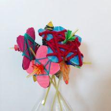 Resultaat knutselactiviteit bloemetjes